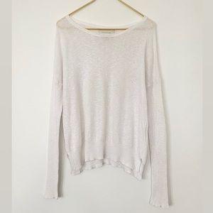 Brochu Walker White Cotton/Linen Knit Sweater